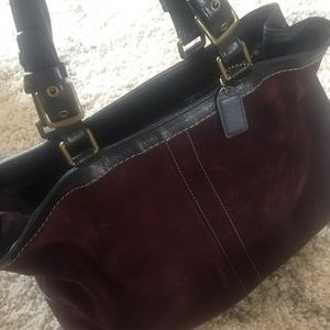 Coach expandable suede tote in eggplant